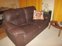 Chocolate Brown Leather Two Seater Settee