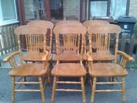 6 carved dining chairs,solid oak,high back,2 carvers,stable and sturdy