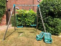 Double garden swing with two baby seats