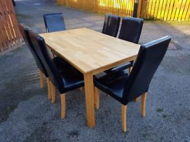 Solid Oak Dining Table 150cm & 6 Black High Back Leather Chairs Oak Legs FREE DELIVERY 390