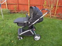Mothercare Roam (pram seat ,carrycot)in black PERFECT CONDITION Comes WITH matching footmuff