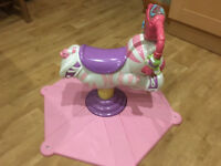 Fisher-Price Bounce and Spin Zebra Girls Toddler Musical Rocking Horse Toy