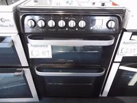 NEW GRADED BLACK 60 WIDE HOTPOINT FREESTANDING COOKER REF: 31057