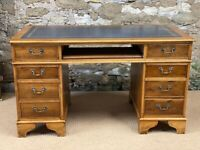 Captains Desk Rustic with navy Leather Inlay