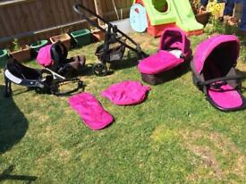 Complete baby travel system loads of extras, pushchair, car seat , base, carrycot & more