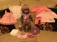Ethnic Baby Born Doll Zapf Creation with clothes and accessories