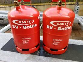 Gasit refillable gas bottles (2x6kg) REDUCED FOR QUICK SALE