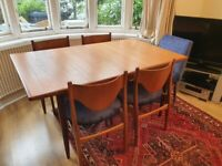 G plan vintage extending dining table with 6 chairs