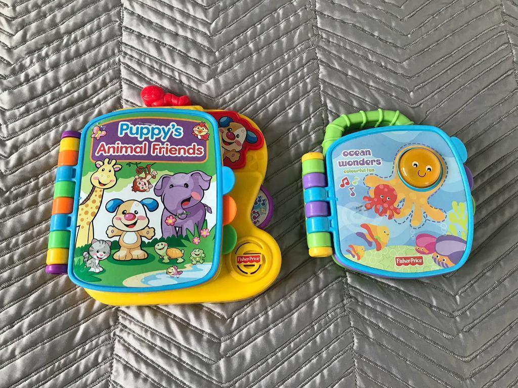 X3 Toy Books! Vtech Nursery Rhymes, Fisher Price Ocean Wonders & Puppy's Friends Books