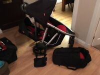 Phil & Teds double buggy with cocoon & carrycot