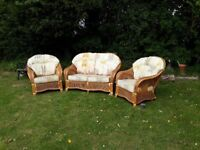 Solid Pine Conservatory Suite. 2 x Chairs, 1 x 2 seater Settee. Very well built VGC.