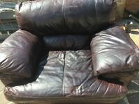Italian leather large choclolate brown armchair