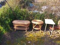 Oval rattan/wicker table and metal table that can be raised/lowered - free