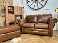 THOMAS LLOYD LEATHER 2 Seater Sofa + Footstool Brown