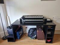 Large Black Computer/Console Desk