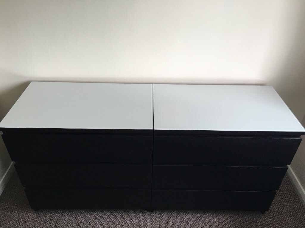 2 separate ikea malm chest of drawers 3 drawers in black for Ikea black malm