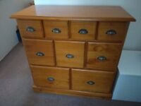 Victorian Style Solid Pine 9 Drawer Traders Chest of Drawers with Brass Handles