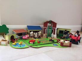 Wooden toy farmyard set, comprising various items mostly from GLTC