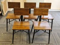 Solid wood and steel chairs