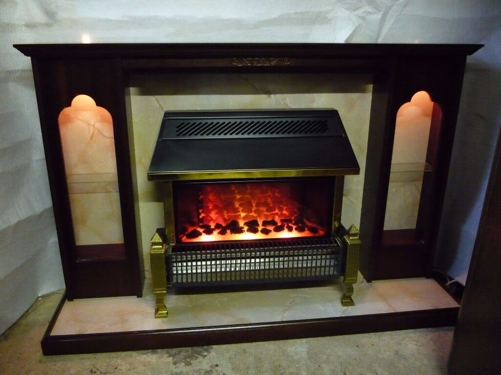 Electric Fire with Wood (mahogany) and marble effect Surround.