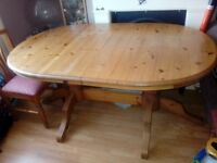 Extendable pine dining table and 4 chairs