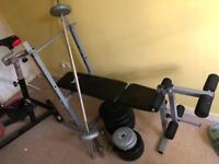 Indoor spin bike & weight bench