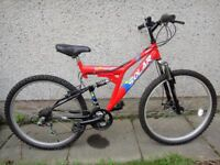 Solar 2.51FT disc DC 26 inch wheels, 18 gears, 19 inch frame, full suspension, excellent condition