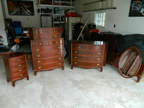 Antique Mahogany Bedroom Set High Chest,Dresser w/ Mirror,nightstand &Full size