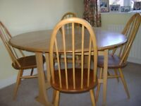 Ercol Folding Leaf Dining Table and 4 Ercol Chairs