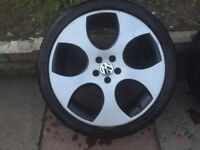 VW golf, 4 set of alloys with tyres good condition