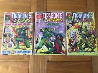 Vintage Marvel Dragons Claws Comic Books - Number's 1-3, in original sleeves, 1988