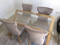 Glass Top Dining Table & Chairs (only 3 match)