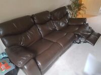 3 seater chocolate brown leather recliner settee- good condition only one side (left) reclines