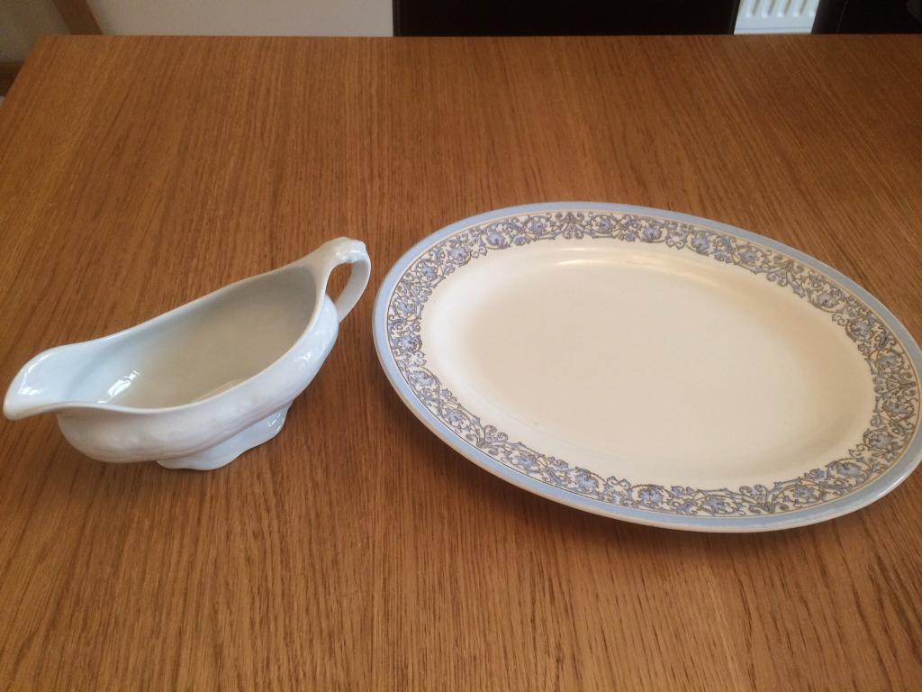 Gravy jug and platter