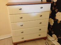 5-drawer chest, good condition H92cm, W84cm, D41cm