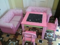 kids Barbie pink set of two sofas table and chairs can deliver