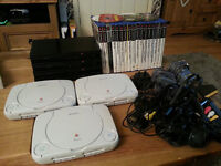 3 X PS1 - 4 X PS2 AND 17 GAMES - FOR SPARES OF REPAIR