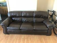 3 seater sofa brown leather