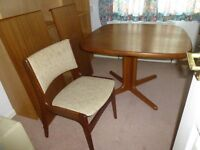 Retro Danish Skovby solid teak dining table and 4 chairs