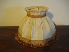 Vintage shabby chic cream and brown lamp shade