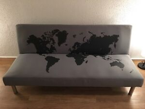 Selling Sofa bed grey blue with world map print (1 year old)