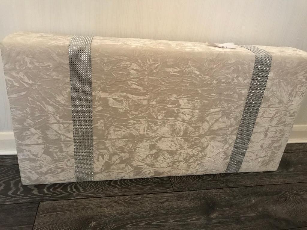 Ivory/cream crushed velvet Pelmet