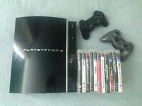Playstation 3 - 80GB (PS3) with 2 controllers and 10 games + cables