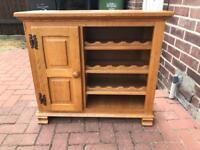 Solid oak wine rack storage table