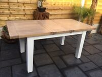 Solid Oak / White Extending Dining Table, New / Unused