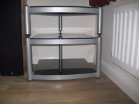 Glass and metal hi-fi stand with 3 shelves