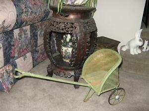RARE ANTIQUE WICKER DOLL SIZE RICKSHAW c. 1900