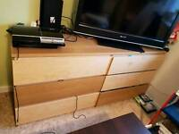 Chest of drawers double light brown wooden