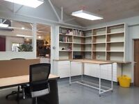Studio space of 4 desks now available in shared creative space/workshop.