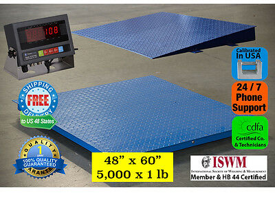New 5000 Lb X 1 Lb 5x4 60 X 48 Floor Scale Pallet Scale With Ramp